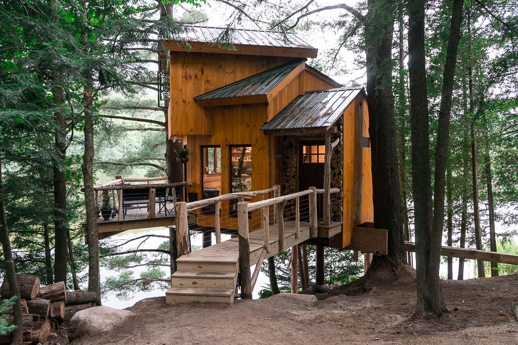 swank and stylish treehouse in Vermont's Walker Pond area